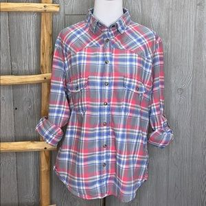Jachs Girlfriend Plaid Button Up Large